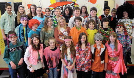 The students of the Quay School in Westport who took part in Mamma Mia as Gaeilge.