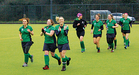 Celebrations for Greenfields Ladies Hockey.
