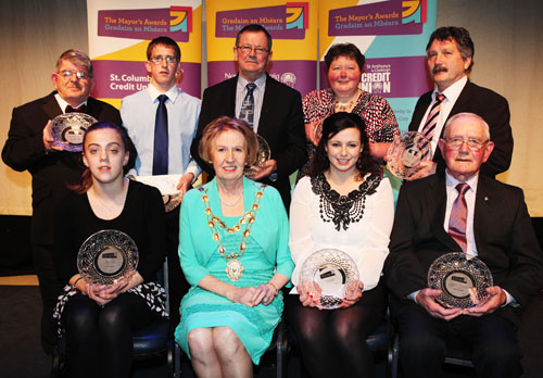 Mayor Terry O'Flaherty pictured with all the category winners at the Mayor's Awards. Photo: Aengus McMahon