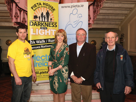 Pictured in Westport House at the launch of the Darkness into Light 5K walk / run in aid of Pieta House, which takes place from Westport House at 4am on Saturday May 11 (supported by Electric Ireland) from left: Alan Gallagher, Achill /Kildare; Joan Freeman, CEO Pieta House; Michael Larkin, Ballyheane and Pakie McGinty, Achill. Photo: Michael Donnelly