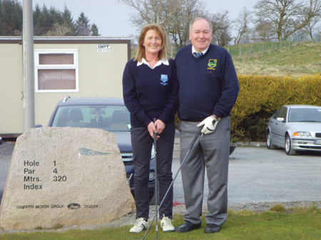 Captain Brendan Mellett and Lady Captain Noreen McHugh at the Captains' Drive-in in Claremorris Golf Club