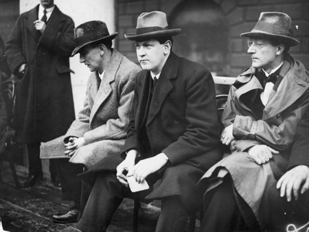 Just before the storm: Joseph McGrath, Michael Collins, Sean McGarry, also just out of shot were Pádraic ÓMáille, and WT Cosgrave preparing to speak at a pro-Treaty rally at College Green Dublin, March 1922.