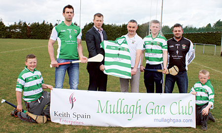 At the presentation of sponsorship from Keith Spain Enterprises to Mullagh GAA Club were left to right: Back row: Senior club hurler Johnny Rafferty, sponsor Keith Spain, club chairperson Eamon Donoghue, county hurler Davy Glennon, and club treasurer David Reilly. Front Row: Representing the juveniles of the club, Sean Callanan and Cormac Callanan.