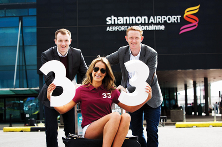 The summer has begun. Lar Corbett and Colm 'Gooch' Cooper joined ranks with Galway model Mary Lee to launch Shannon Airport's summer season.  This year, passengers at Shannon can choose from thirty three destinations across the UK, Europe and the US.   Picture Sean  Curtin Photo.