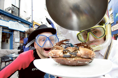Fishy antics from the Gombeens who were out on the streets of Galway promoting the Galway Sea Festival.  Picture: Andrew Downes