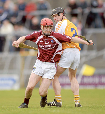Aonghus Clarke, Westmeath, in action against Barry McFall, Antrim.  Photo: Oliver McVeigh / SPORTSFILE