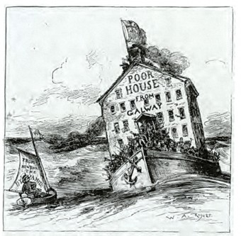 This cartoon in Harper's Weekly, from the 1880s,  shows graphically that in spite of their proven willingness to work and to fight in their adopted land, American public opinion was getting tired of the waves of humanity arriving from Ireland.