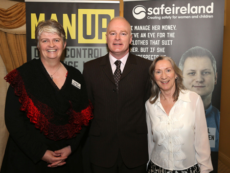 Sharon O Halloran, (director, SAFE Ireland), Tommy Marren, Josephine McGourty (manager, Mayo Women's Support Services) at the launch of MAN UP in Mayo. Photo: Michael Donnelly.