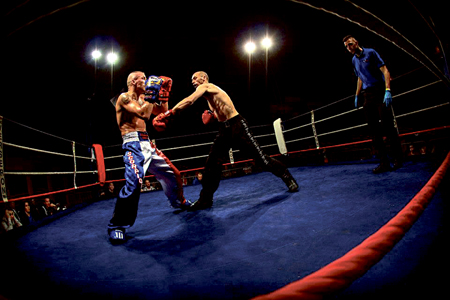 Gary Manogue (right) on his way to a first round knockout victory against Morgan Fortrie in Peronne, France, in March this year.