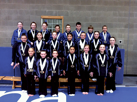 The successful Renmore Gymnastics Club members who won medals at the national finals.