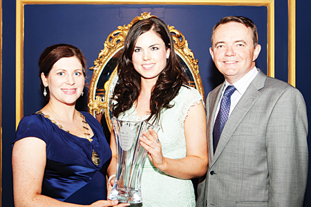Ciara O'Callaghan, President, Network Galway, Network Galway Business Woman of the Year (Self Employed)-Cliona Standún, Standún and Barry O'Sullivan- SVP, Cisco Systems and RTE's Dragons Den pictured at the Network Galway Business Women of the Year Awards in the  g Hotel.   Photo Martina Regan