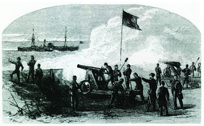 Deadly accuracy won the day: Engraving of a Confederate coastal battery in an earthen fortification similar to Fort Griffin in September 1863.