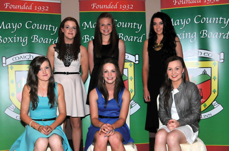 Ladies first: Front row L to R: Jacqui Lynch (Golden Gloves BC), Grainne Gavin (Castlebar BC), and Lycia Henneghan (Ballinrobe BC). Back row L to R: Ciara Sheedy (Swinford BC), Ciara Ginty (Geesala BC), and Cathy Higgins (Ardnaree BC) at the recent Mayo boxing celebrations.