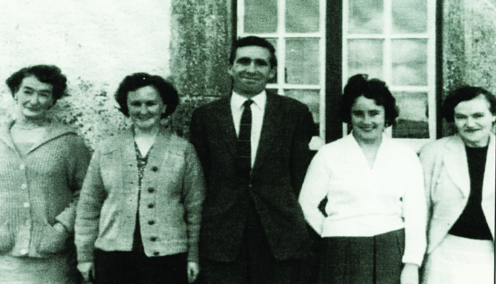 Teaching young children is always a challenge; but many people in Killimor have good memories of their school days: Here are the teaching staff in the national school: Margaret M Flood, Angela Geoghegan (editor of the book), Seán Fahy, Hilda Deeley and Mary B Duffy.