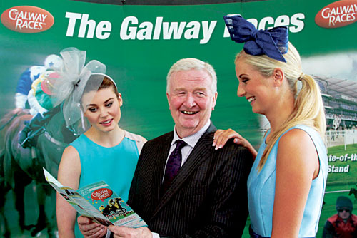 Terry Cunningham chairman of the Galway Races Committee, with Catwalk models Kate Harris and Rachel Kelly at the launch of the Galway Races on Tuesday.  Photo:-Mike Shaughnessy