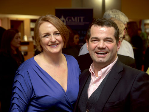 GMIT lecturer and Fáilte Ireland Food Champion 2013 Jacinta Dalton with John Healy of RTE's The Restaurant at the Foodie Forum dinner, hosted by GMIT earlier this year.