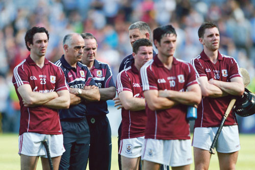 A tough day: Galway manager Anthony Cunningham with selectors and players after losing their Leinster hurling championship crown to Dublin at Croke Park on Sunday. 				Photo:-Mike Shaughnessy