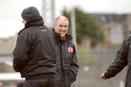 Mickey Harte's men were mighty relieved to hang on for a two point win. Photo: johnobrienimages.com