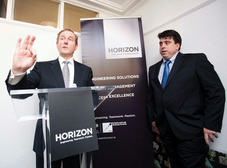 An Taoiseach Enda Kenny and Managing Director of Horizon Aiden Corcoran pictured at the announcement of 10 new engineering jobs at the official opening of Horizon's new Dublin offices. Photo: Leon Farrell/Photocall Ireland.