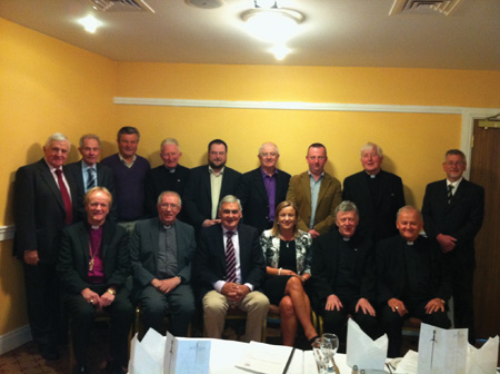Council for the West members meeting with local bishops. Sitting from left: Right Rev Patrick Rooke, Most Rev Bishop John Kirby, Sean Hannick, Caroline Wilson, Most Rev Archbishop Michael Neary, Most Rev Bishop Brendan Kelly. Standing from right: Ray O'Donoghue, Sean Sweeney, John Connolly, Most Rev Bishop Philip Boyce, Neville Bagnall, Michael McGarrigle, Micheal Frain, Most Rev Bishop Christy Jones and Declan O'Callaghan.