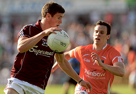 Shane Walsh, Galway, in action against Mark Shields, Armagh. Pic: Ray Ryan, Sportsfile.