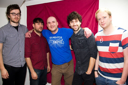 Man in the middle: Finbar Hoban with Delorentos before one of his Finbar Hoban Presents shows.