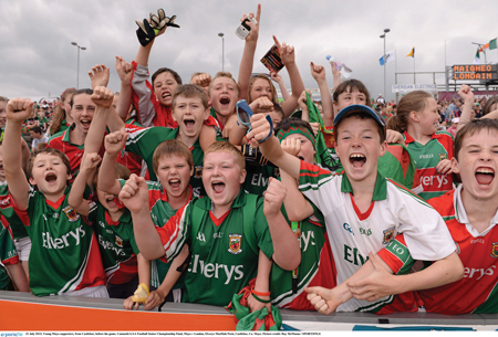 Happy faces: Young Mayo supporters enjoying last weekend's Connacht final against London. Photo: Sportsfile.