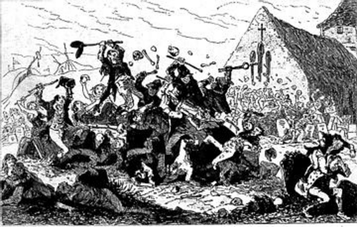 A fierce faction fight at Mám Éan, Connemara, to celebrate Garlic Sunday (the last Sunday in July), with all its pagan echoes of Lughnasa.