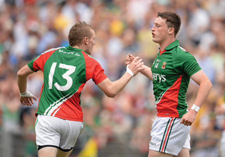 Goal getters: Liam Irwin and Darragh Doherty celebrate during the Connacht final. Photo: Sportsfile
