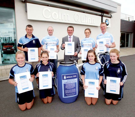 Seamus Mitchell, Gordon Brett, Colm Quinn (sponsor), Lorna Mulvihill, Fergal O'Toole, Shannon Hynes, Kelly Brill, Robyn Coyle, and Lauryn Mitchell with the time capsule.