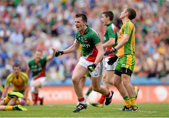 Hat-trick hero: Cillian O'Connor celebrates Mayo's fourth and his third goal against Donegal. Photo:Sportsfile