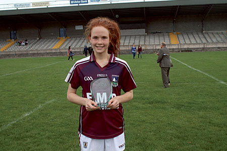 Olivia Divilly wit the player of the match award after Galway draw with Dublin in Sunday's final.