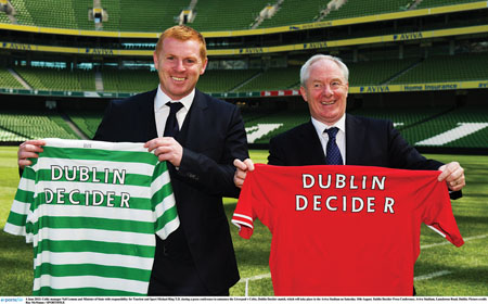 Celtic manager Neil Lennon and Minister of State with responsibility for Tourism and Sport Michael Ring during a press conference to announce the Liverpool v Celtic, Dublin, decider match.