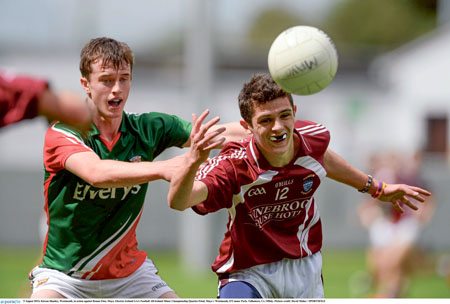 Kieran Shanley, Westmeath, in action against Ronan Finn during last weekend's game.  Photo: David Maher / SPORTSFILE