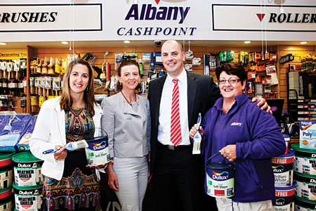 Pictured left to right is Barbara Tiernan, vice principal of Killeen National School, which received Dulux paint to do up the school, with Mary McNicholas of Albany Westport, Brian Keenan of Dulux, and Helen Joyce of Albany Westport.