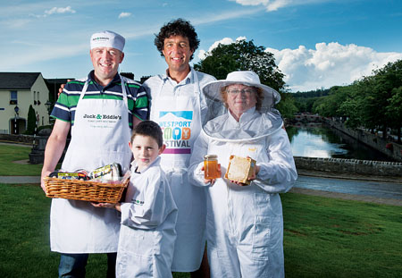 At the launch of the third Westport Food Festival were organisers and local food producers Edward and Jack O'Malley, Jack & Eddie's; Redmond Cabot, Red's Sauces; and Anne Campbell, Westport Beekeepers Association. Photo: Michael McLaughlin.