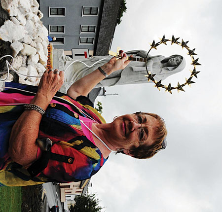 Anne Nally a resident from the Quay area in Westport, displays the crown that will be unvailed during a ceremony at the Marian Statue know locally as The Grotto on Monday August 12 at 7pm. Photo: Frank Dolan