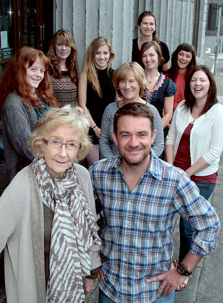 Writer Patricia Burke Brogan and director Niall Cleary (front) with the cast of Eclipsed; Margaret O'Sullivan, Catherine Denning, Siobhán Donnellan, Caroline Lynch, Edel McGrath, Zita Monahan, Emma O'Grady, and Liz Quinn; pictured during rehearsals for Mephisto's production of Eclipsed by Patricia Burke Brogan. Pic:- Mike Shaughnessy