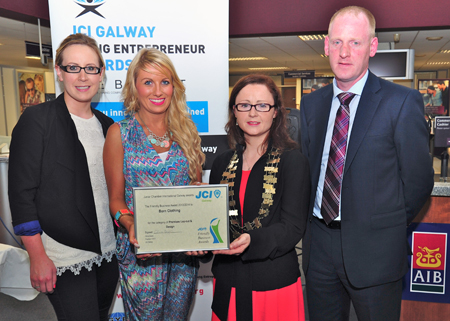 The proud winners from Born collect their two awards — Liz Neylon and Emma Regan from Born receive their awards from Olivia Hayes, president of the JCI Galway, also in photo is Seamus Fenessey - the branch manager for AIB.