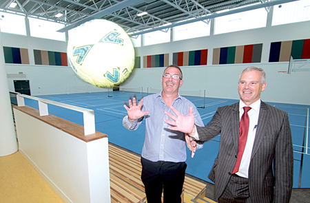 Game on — Gearoid O'Conghaile manager of Knocknacarra Community Centre and Ciarán Hayes director of services Galway City Council pictured as they invited the public to sample the  Knocknacarra Community Centre today Thursday from 2pm - 7pm.  Photo:-Mike Shaughnessy