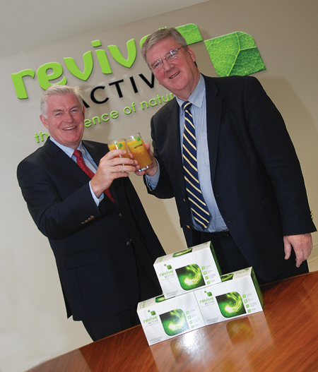 Daithi O'Connor, MD of Revive Active, welcomes  Supermac's MD Pat McDonagh to the Revive Active board.