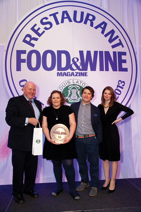Pictured at the presentation of the awards at the Food & Wine Maison Louis Latour Restaurant of the Year Awards 2013 were: from left Gregory Alken, director of Febvre & Company Limited (sponsor); Jen and David Murphy of Kai Restaurant and Miriam Atkin, editor of Food & Wine magazine.