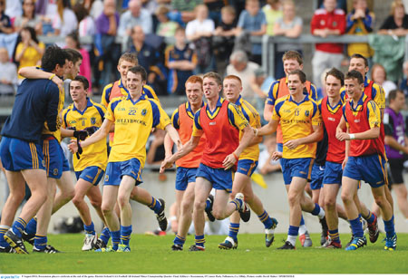 Roscommon players celebrate at the end of the All-Ireland minor championship quarter-final. Photo: David Maher/ SPORTSFILE