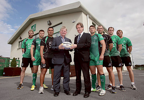 Pictured at the Sportsground, Galway, where former Lions, Ireland, Connacht captain Ciaran Fitzgerald launched the NUI Galway Connacht Rugby High Performance Partnership were Craig Clarke, Robbie Henshaw, Pat Lam, Ciaran Fitzgerald, president NUI Galway Dr Jim Browne, Conor Finn, John Muldoon, Eoin McKeon and Gavin Duffy. Photograph by Aengus McMahon