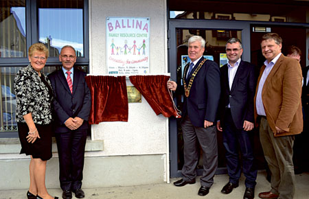 At the launch of the Console Outreach Centre in the Family Resource  Centre in Ballina were Anne Lynch (counselling manager Mayo), Paul Kelly (CEO  Console), Cllr Johnny O'Malley (Mayor  of  Ballina), Dara Calleary TD, and John O'Mahony TD.