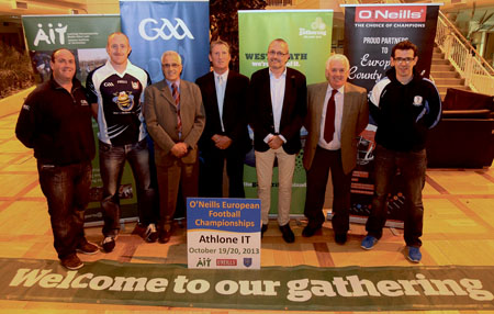At the launch of The Gathering's European GAA football finals in the AIT this week are, from left to right: Gary Sammon, AIT GAA development officer; Gary Connaughton, Westmeath AllStar and AIT MSc student; Sean Sheridan, chairman of Westmeath GAA; Maurice Stenson, Westmeath County Council 'The Gathering' co-ordinator; Tony Bass, secretary, European GAA; Tom Farrell, former chair of Westmeath GAA; Brian Sheehy, chairman of European GAA.