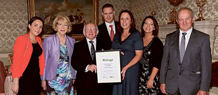 The collaboration between Abbey Acts and Ballyglunin Station restoration committee was recognised recently by President Michael D Higgins.