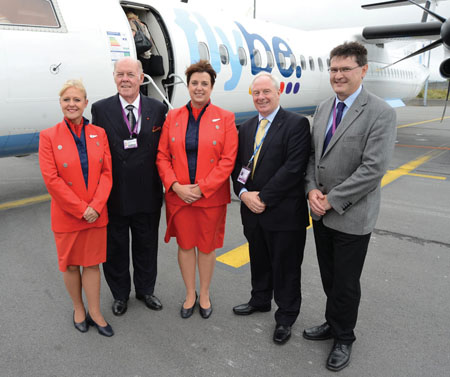 Pictured at the announcement of a new service to Birmingham from Ireland West Airport Knock with Flybe are, left to right: Sue Bennison, Flybe cabin crew, Joe Kennedy, chairman Ireland West Airport Knock; Sue Neal, Flybe cabin crew; Minister of State at the Department of Transport, Tourism and Sport, Michael Ring; Joe Gilmore, managing director, Ireland West Airport Knock.