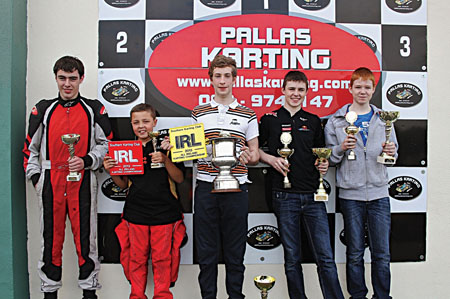 Conor Keane from Ballinasloe, Patrick Dempsey from Ballyglunin, Danny Hyland from Ballinasloe (champion), Cathal Mullins from Kilcolgan (champion), Shane Mullins from Kilcolgan at the All Ireland Karting finals in Tynagh.