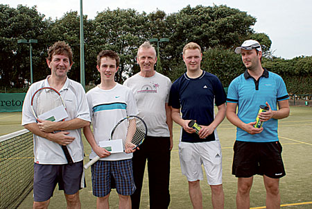 GLTC Dbls Champs Pat Dillon& Bill Jennings with Gerry Smyth(Tennis Cttee) and R-up Neil McLoughlin&Brendan Murtagh